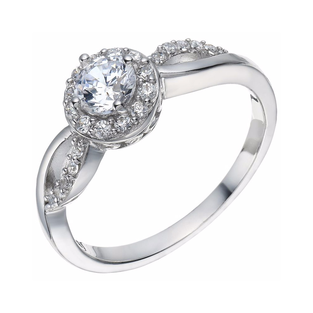 925 Silver 14k White Gold Fn Cubic Zirconia Solitaire W/ Accents Engagement Ring