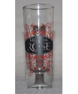 """Tequila Rose Shot Glass Red Floral Scroll Pattern 4 1/8"""" Tall - $4.90"""