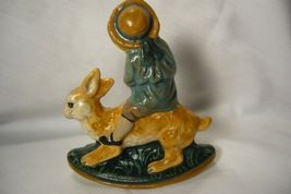 Vaillancourt Folk Art Limited Ed. Boy on Rocking Rabbit signed by Judi! image 3
