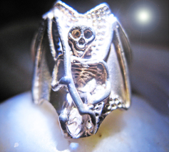 Haunted Antique RING MYSTERIOUS ORIGINS c.1897 sterling Death motif Witc... - $64.77