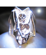 Haunted Antique RING MYSTERIOUS ORIGINS c.1897 sterling Death motif Witch Magick - $64.77