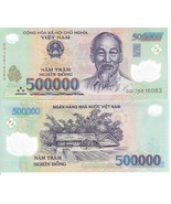 Vietnamese Dong Vietnam Money Circulated Currency Notes 500,000 x 2 = 1 ... - $65.61