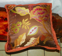 Brown Gold Flower Print Decorative Throw Pillow  18 x 18 - $39.95