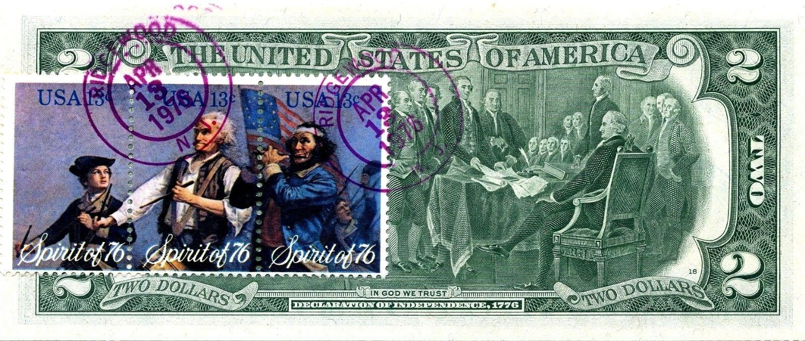 MONEY US $2 DOLLARS 1976 NEW YORK  FIRST DAY STAMP CANCEL & HANUKKAH GEM UNC image 2