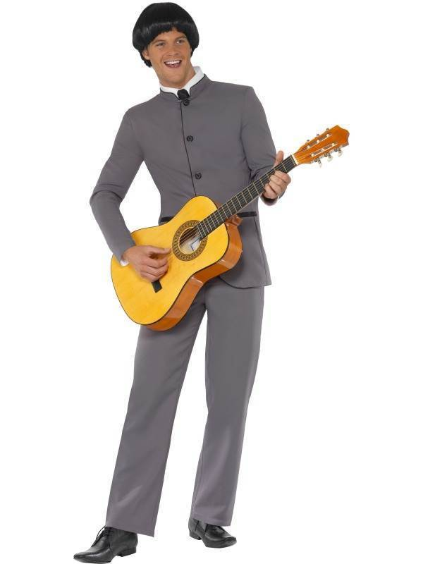 """FAB FOUR ICONIC COSTUME, GREY, 1960'S GROOVY FANCY DRESS, CHEST 38""""-40"""", MENS"""