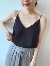 White Women's Chiffon Top Sleeveless V-Neck Chiffon Blouse Tank Tops Pearl Deco  image 6