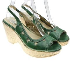 Mossimo Supply Co. Womens Slingback Green Cork Open Toe Heels Size 6 Rare - $18.76