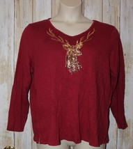 Womens Deep Red Deer Sequin Quacker Factory Long Sleeve Shirt Size XL ex... - $7.91