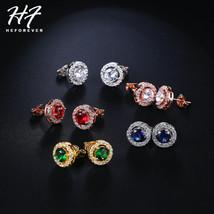 Classic Sliver Color Hearts Arrows Cut Carat Cubic Zirconia Stud Earring... - $7.99