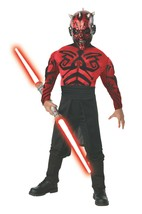 Stars Wars Darth Maul Child Costume Cosplay Dress Up Deluxe Muscle Chest - $16.82