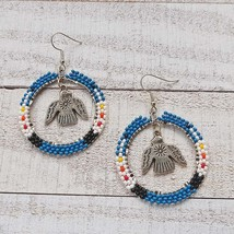 Native American Style Classic Blue Hoop Earrings w/ Thunderbird Charm - $32.00