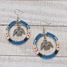 Native American Style Classic Blue Hoop Earrings w/ Thunderbird Charm - £24.47 GBP