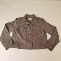 Ann Taylor LOFT Gray Short Linen Military Coat Jacket Size Large Button Up - $19.54