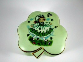 "Vintage Lefton Green Shamrock Trinket Box Four Clovers 3.5""x2"" - $14.85"