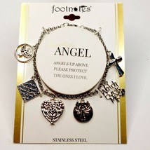 C79 LA ROCKS Angel Charm Bracelet Stainless Steel  New Old Stock JCP Gift - $18.71
