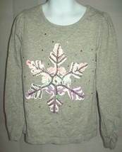 Children's Place Girls Top Size M 7 8 Gray Snowflake Sequin Shirt Holiday School - $18.58