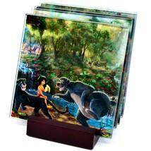 Thomas Kinkade The Jungle Book Prints 4 Piece Fused Glass Coaster Set w Holder