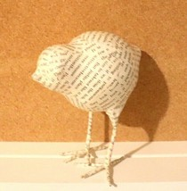 "PAPER MACHE BIRD 6"" FIGURINE WHITE/TYPE PRINT - $17.77"