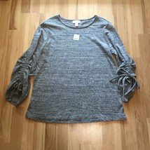 Motherhood Maternity L Large Heathered Gray Sweater 3/4 Ruched Sleeves - $19.99