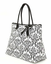 Belvah damask print black and white tote bag QND2705(BK) handbag purse B... - $21.99