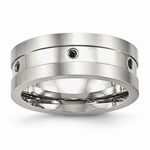 Men's 8mm Stainless Steel Black Cubic Zirconia Band - $55.99