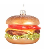 "Glass 3""x2.5"" Hamburger Cheeseburger Christmas Tree Ornament NWT - $6.99"