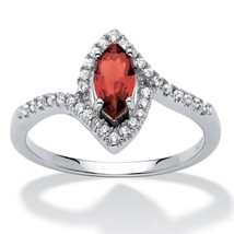 Birthstone and CZ .925 Silver Halo Ring-January - Simulated Garnet - €32,28 EUR