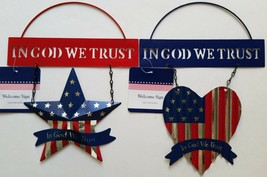 Patriotic Metal 'God Bless America' Welcome Signs w Red Silver Blue Star... - $2.99