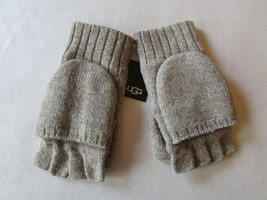 UGG Gloves Knit Flip Mittens Leather Palm Wool Blend Oatmeal Heather - $74.24