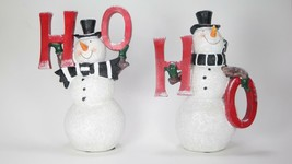 "8"" Tall Traditional Happy Snowman in Top Hat Holding Ho Ho Set 2 Christmas Decor - $34.60"