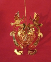 The Danbury Mint Gold Christmas Ornament Collection 1997 DOVE HEART - $12.95