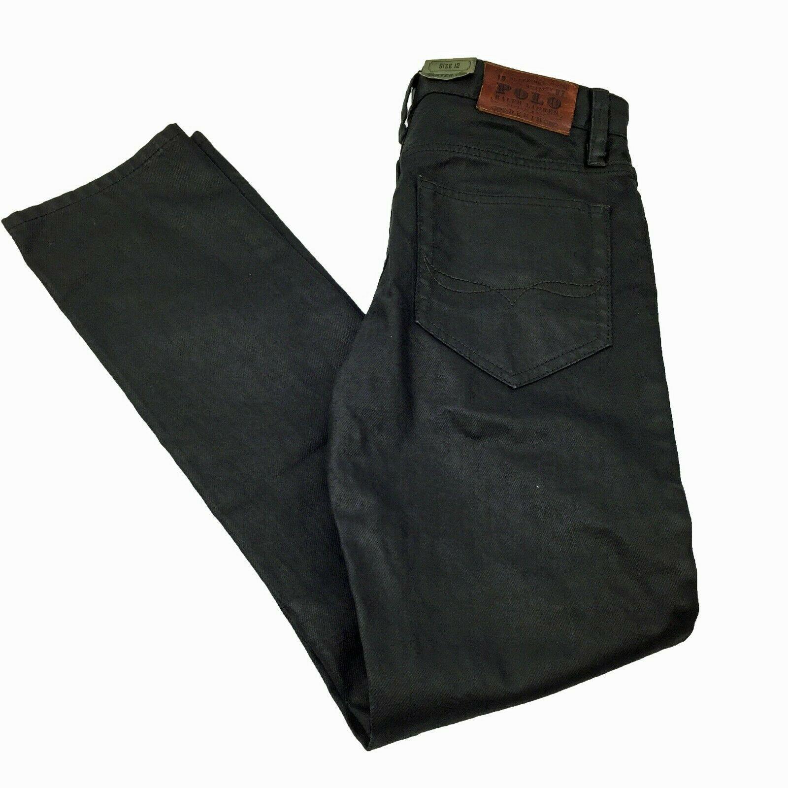 Boys POLO RALPH LAUREN Skater 750 Black Skinny Leg Jeans Size 12 **NWOT
