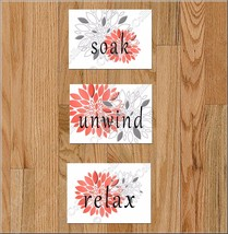 Bathroom Wall Art Picture Print Decor Floral Flower Soak Relax Unwind Co... - $10.35
