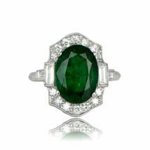 Vintage 2ct Oval Cut Green Emerald Diamond Engagement Ring 18k White Gol... - $106.42
