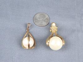 Set of 2 Vintage Faux Pearl Goldtone Medium Size Necklace Pendants-Poss.... - $3.99
