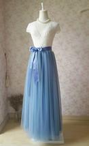 DUSTY BLUE Tulle Maxi Skirt High Waisted Dusty Blue Wedding Skirt (US0-US30) image 4