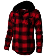 H2H Men's Flannel Plaid Checkered Long Sleeve Shirt Hoodie W/ Front Pockets - $46.31+