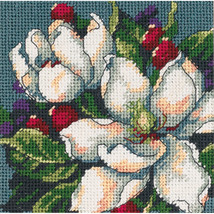 "Dimensions Mini Needlepoint Kit 5""X5""-Magnolia Stitched In Floss - $24.00"