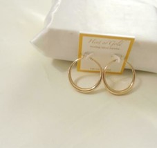 """Hint of Gold 1-1/2""""Round Polished Hoop Earrings in 14k Gold-Plated Brass... - $18.23"""