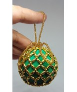 Vintage GREEN JEWELED Christmas Xmas tree holiday ORNAMENT pre-owned fancy - $9.50
