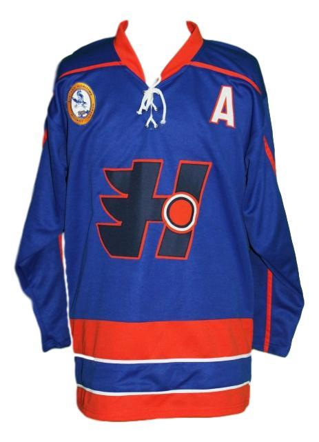 Laflamme  70 custom halifax highlanders retro hockey jersey blue   1