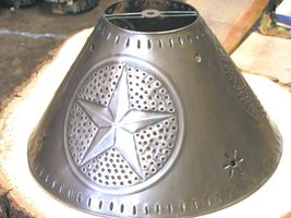 Rustic Brushed Tin Punch Metal Star Round Lamp Shade Md bz - $84.98