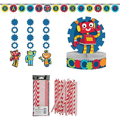 Party Robots Birthday Decorations Party Supplies Packs: Straws, Banner, Hanging