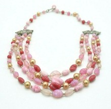 JAPAN Pink Glass Multi Strand Bead Beaded Choker Necklace Vintage Silver Tone - $26.72