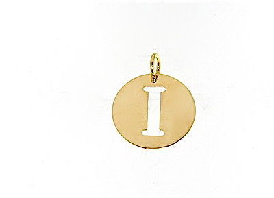 18K YELLOW GOLD LUSTER ROUND MEDAL WITH LETTER I MADE IN ITALY DIAMETER 0.5 IN