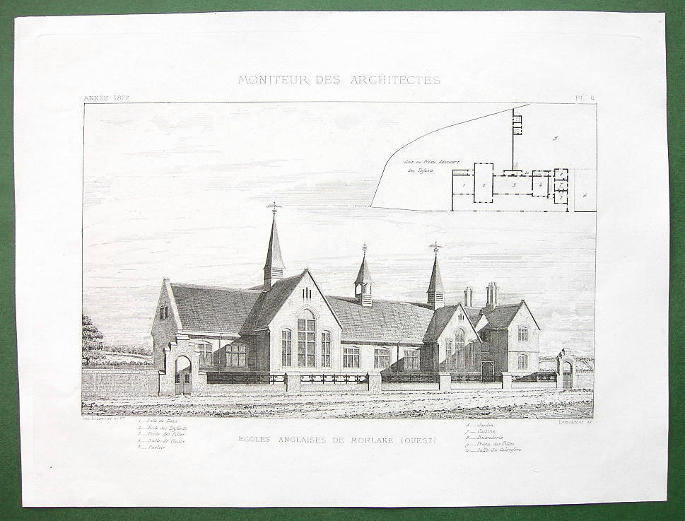 ARCHITECTURE PRINT : ENGLAND Primary School at Morlake Perspective View