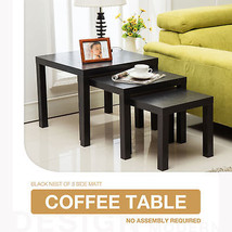 Nest of 3 Modern Black Coffee Table Side Table Living Room Furniture - $110.50 CAD
