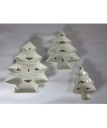 Set of 3 Vintage Ceramic Christmas Tree Nesting Dishes Red Green - $21.77