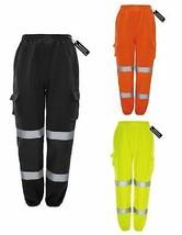 Hi Viz Vis Jogging Bottoms Mens Work Wear Thick Trousers Safety Sweat Pants - $23.48