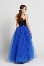 Cobalt Blue Full Tulle Skirt Women Maxi Tulle Skirt Evening Wedding Photo Skirts image 2